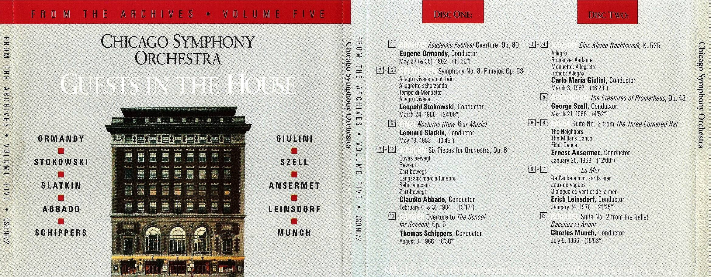 Chicago Symphony Orchestra - From The Archives, Vol.5: Guests in the House, 2-CD set (1990)