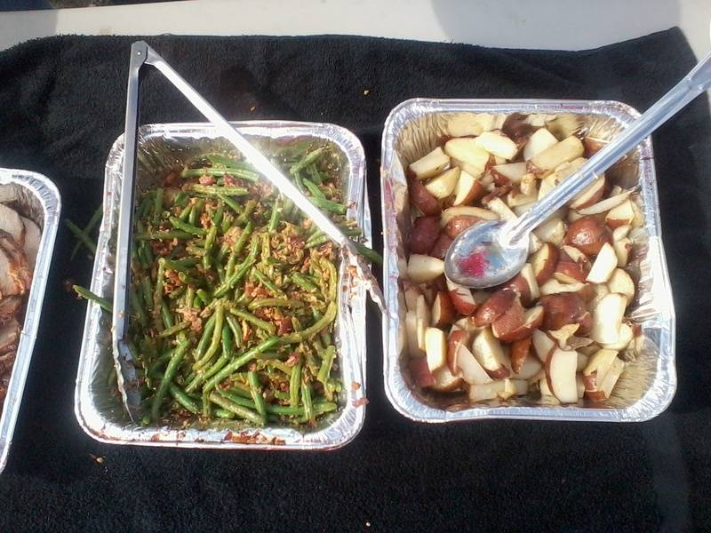 Green Beans Almondine and Roasted Red Potatoes