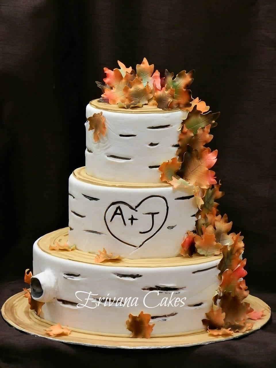 Birch Wood/Fall Themed Wedding Cake 2