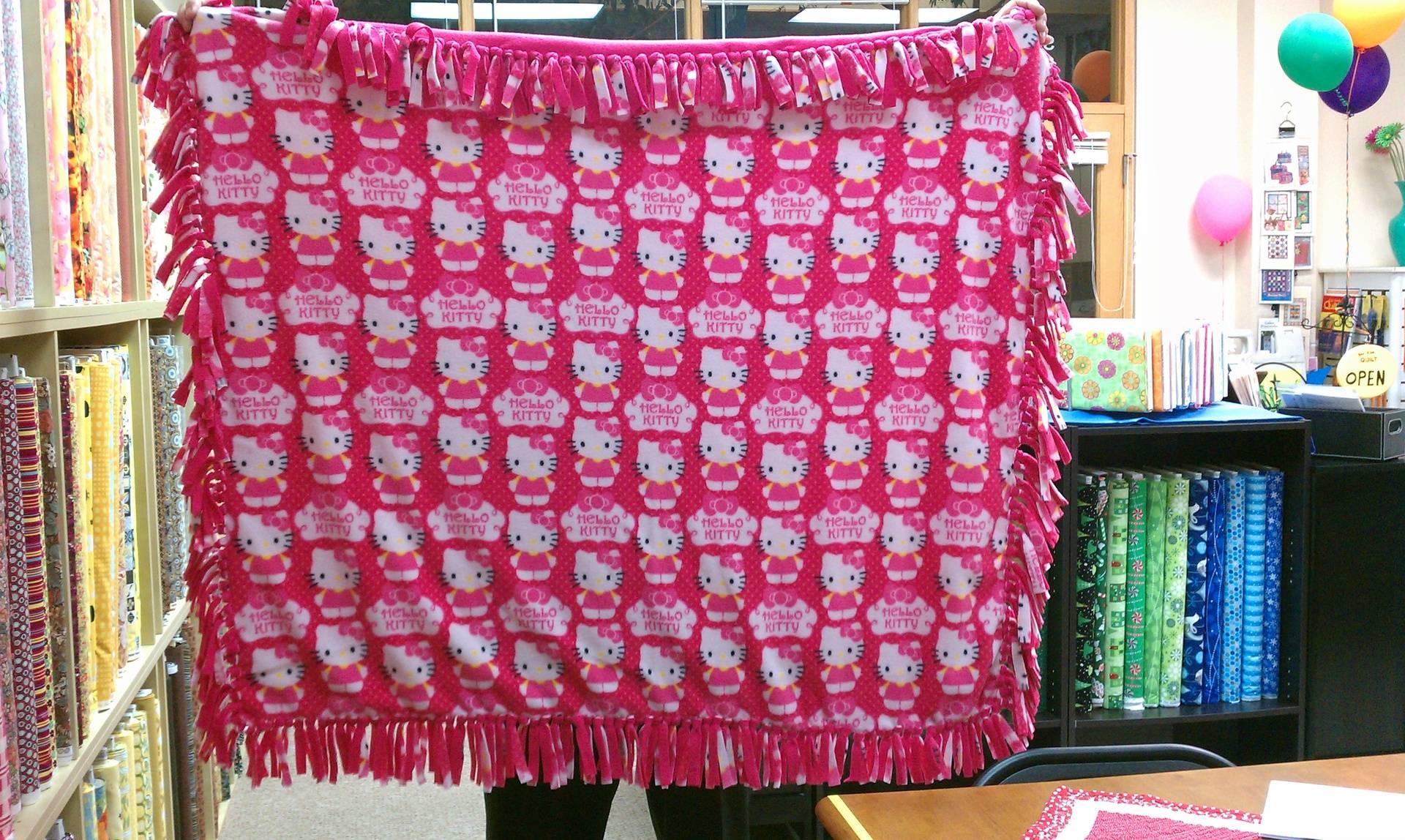 Knotted Hello Kitty fleece