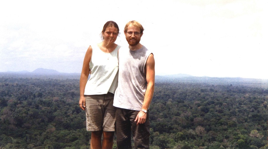 """Noëlle Gunst and JB Leca taking a break from """"capuchin monkey research"""" on top of the Voltzberg, Central Suriname Nature Reserve (September 2001)"""