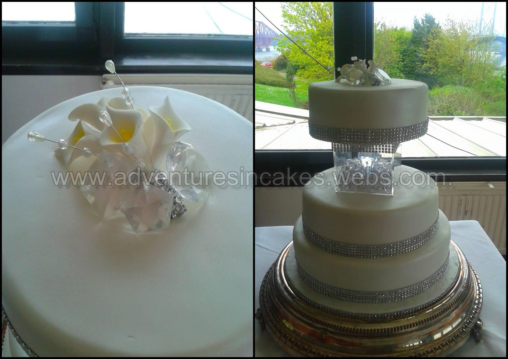 Crystal & Diamante Wedding Cake (top tier Gluten Free)