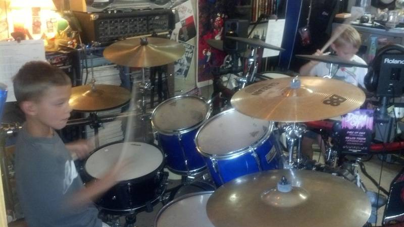 Drumming brothers in the studio...