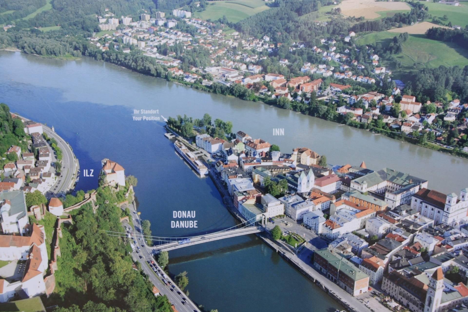View from Veste Oberhaus restaurant in Passau