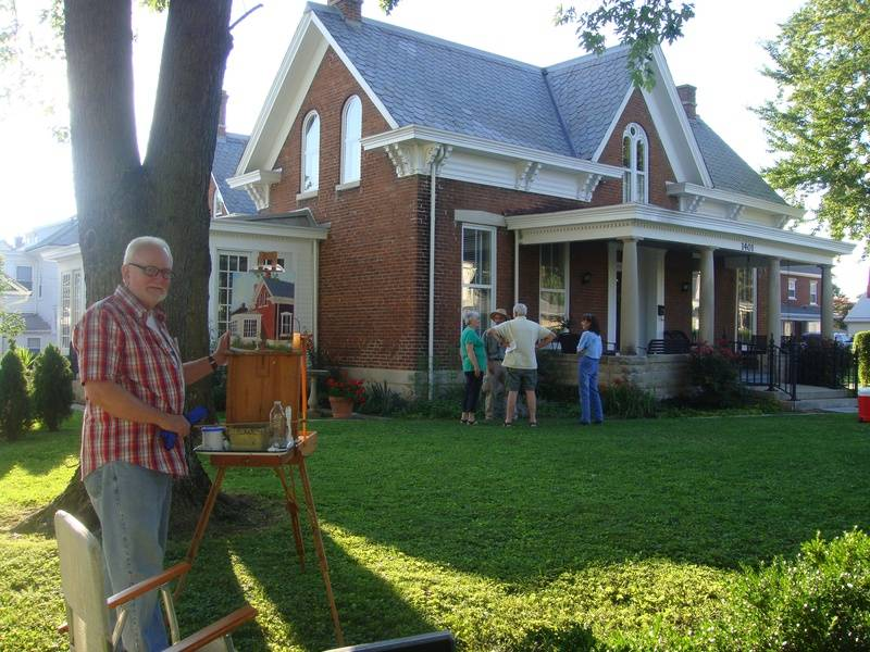 Becky and Jim Buhers home and David Fields - plein aire artist at work