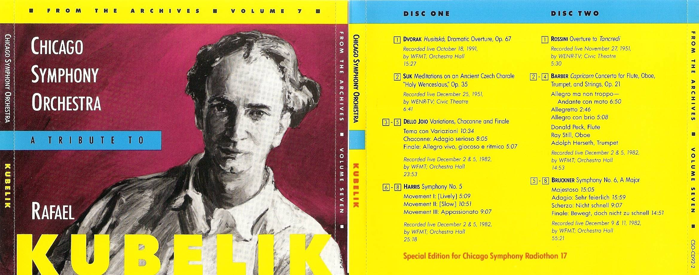 Chicago Symphony Orchestra - From The Archives, Vol.7: A Tribute to Rafael Kubelik, 2-CD set (1992)