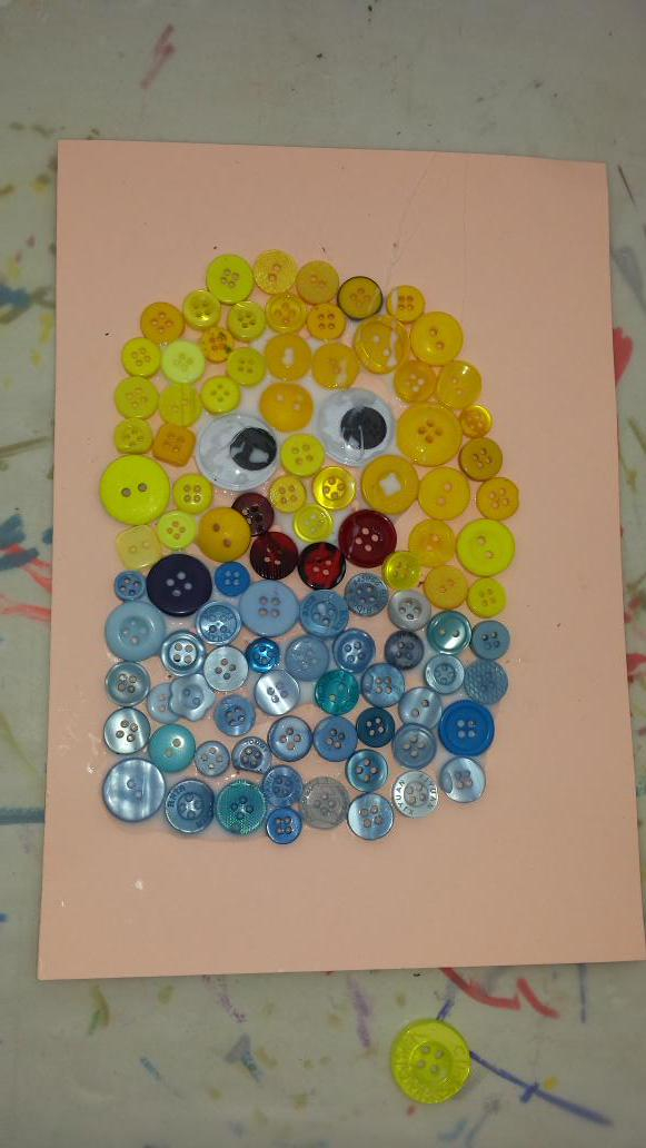 Button Minion created in the collage workshop on Sunday