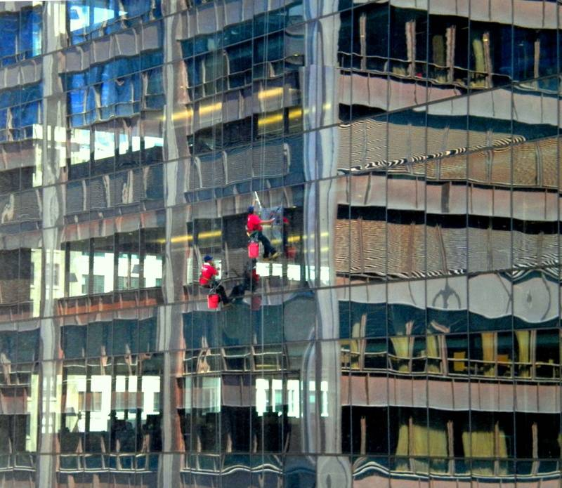 Washing windows way up