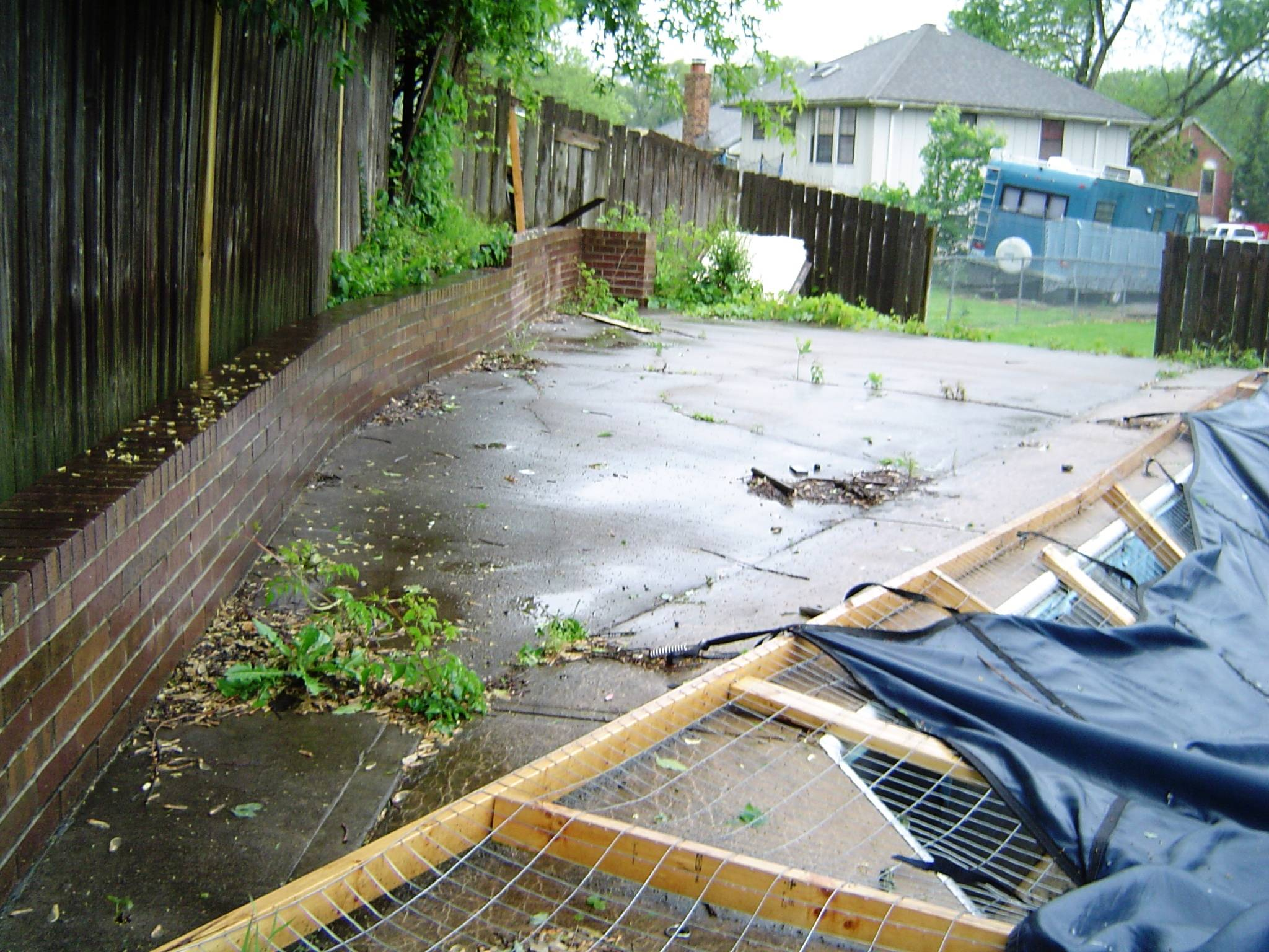 deck drained into pool