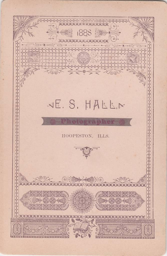 E. S. Hall, photographer, of Hoopeston, IL - back