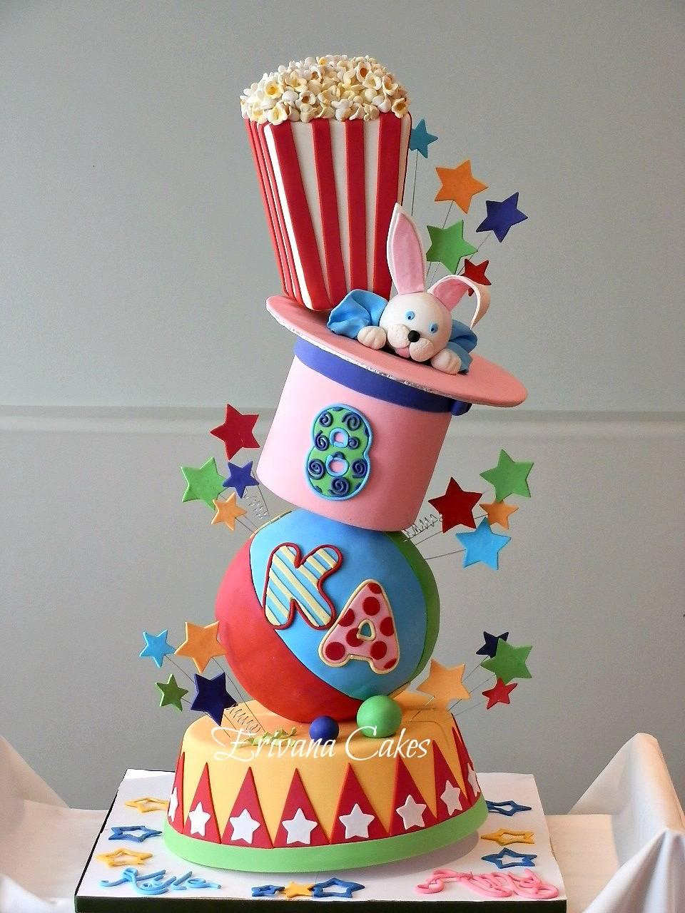 Gravity Defying -Topsy turvy Circus Carnival cake