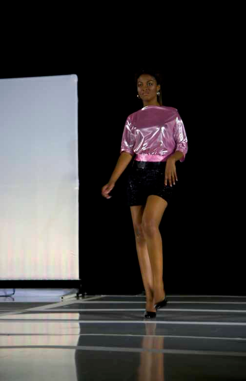 Disco2, pink top and black burn-out shorts
