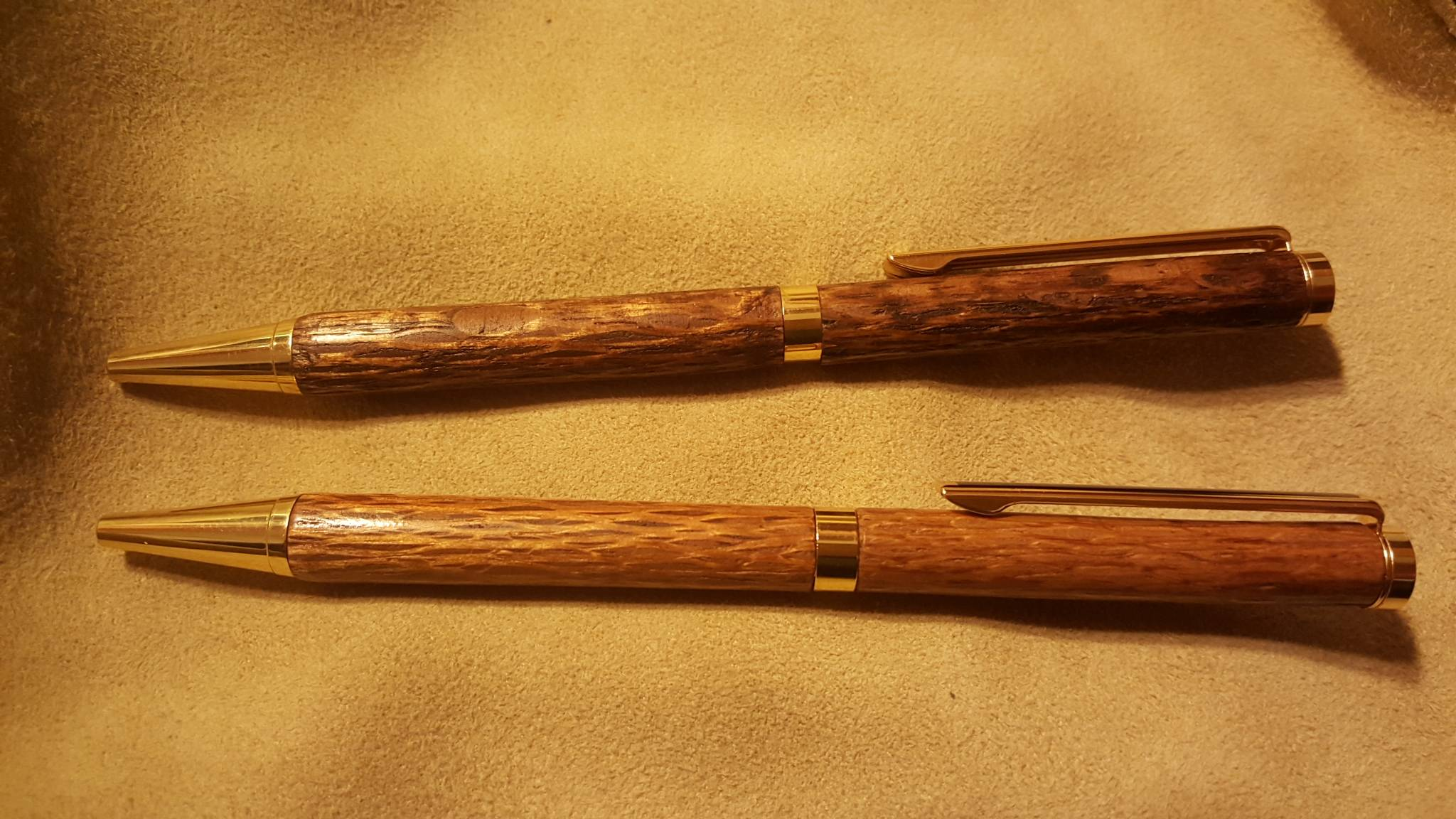 Lattice wood 'slimline' ballpoint pens