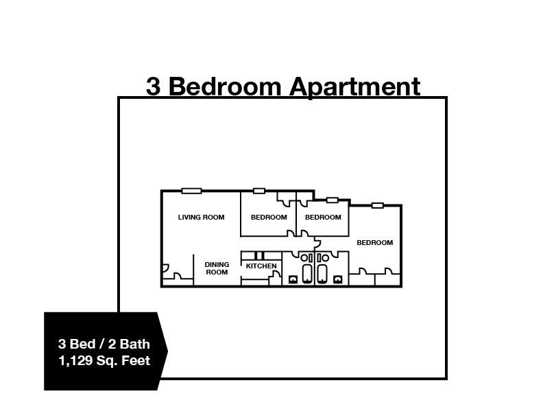 3 Bedroom / 2 Bath Apartment