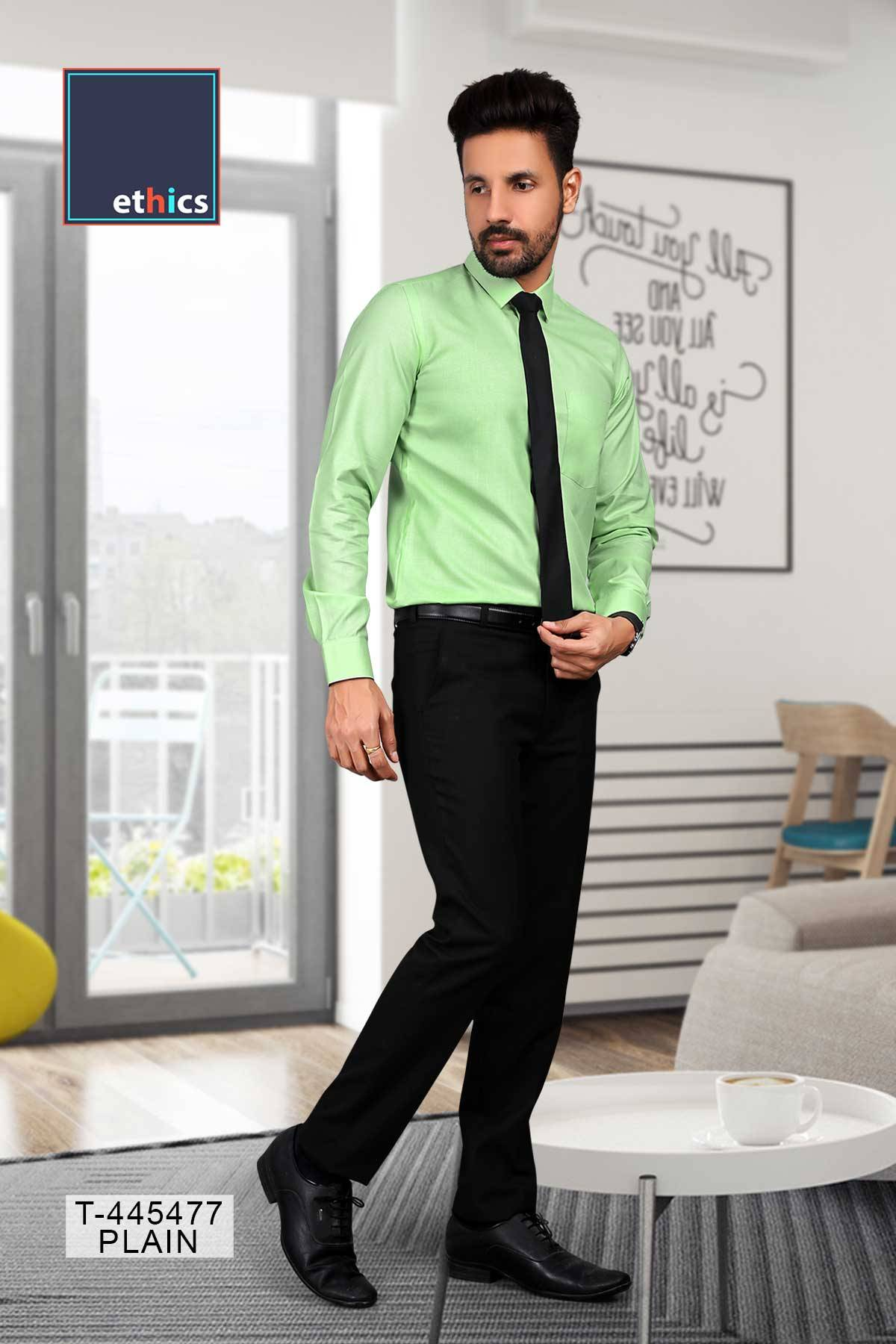 Green Color Readymade Uniform Shirt for Formal Uniforms T-445477