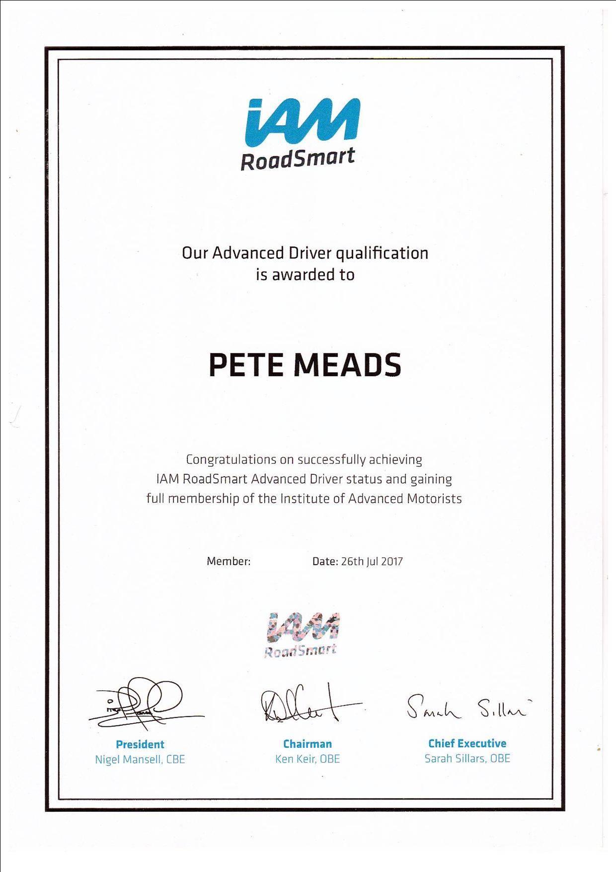 Advanced Motorist Certificate