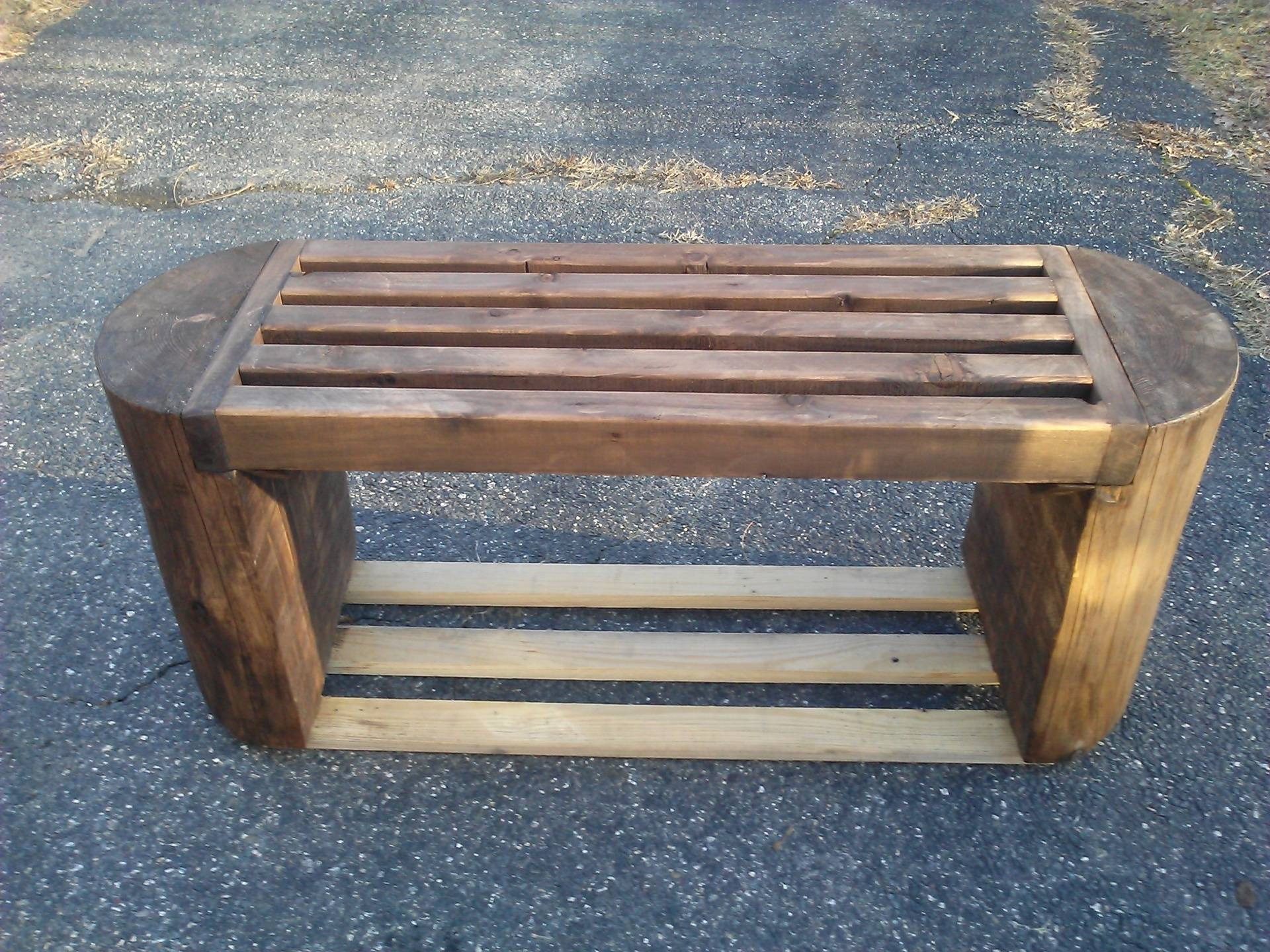 outdoor bench with 'hide a key' feature