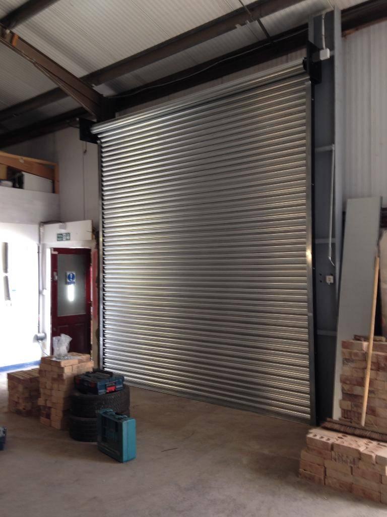 Large galvanised shutter.