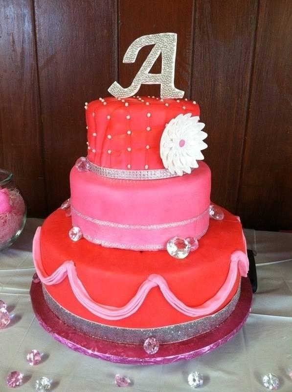 Dark Pink Monogram Cake