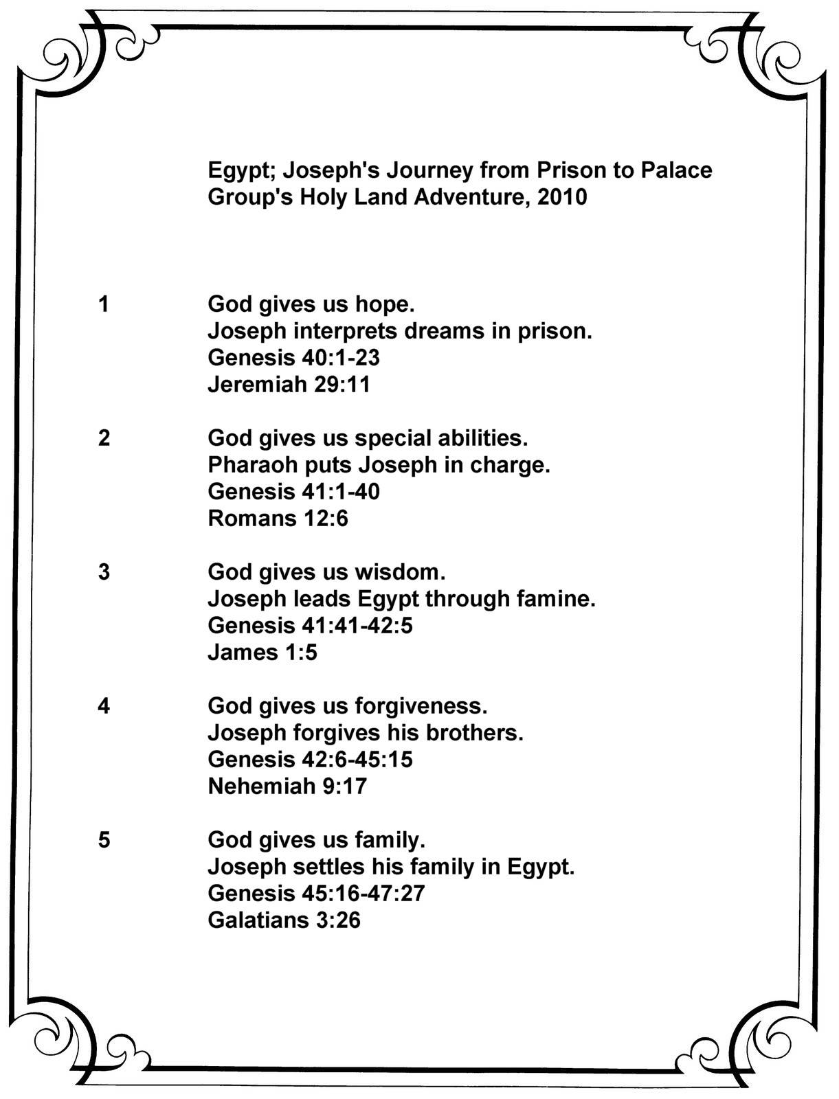 Egypt; Joseph's Journey Summary