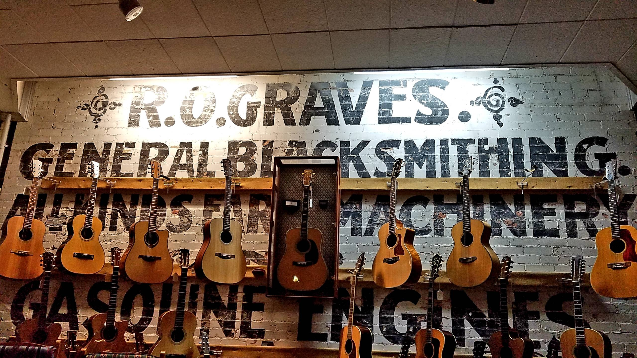 Guitar Wall at Olde Town Pickin' Parlor