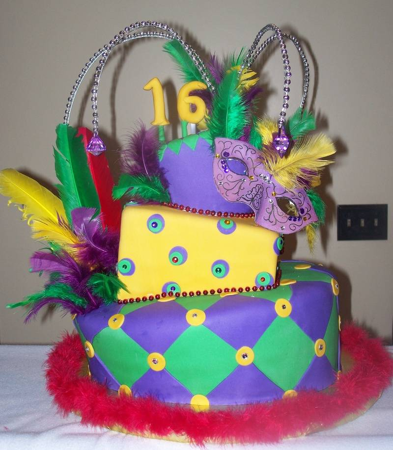 Mardi Gras Sweet 16 Topsy Turvey cake