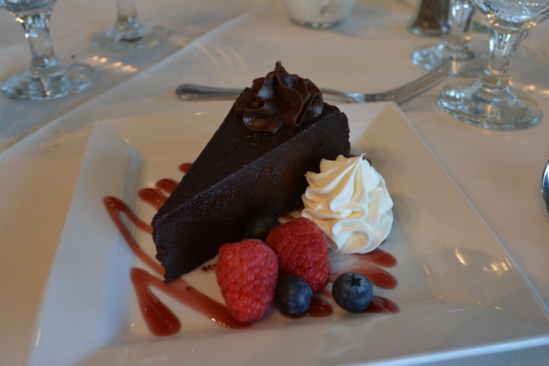 Dessert - chocolate cake with berries and whipped cream YUMMY!!