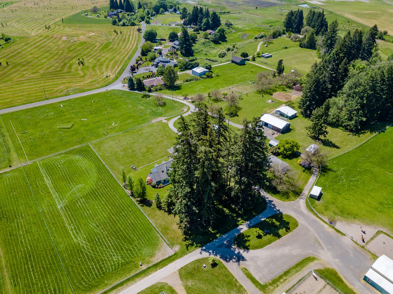 Pastures, parking lot, outbuildings & little barn