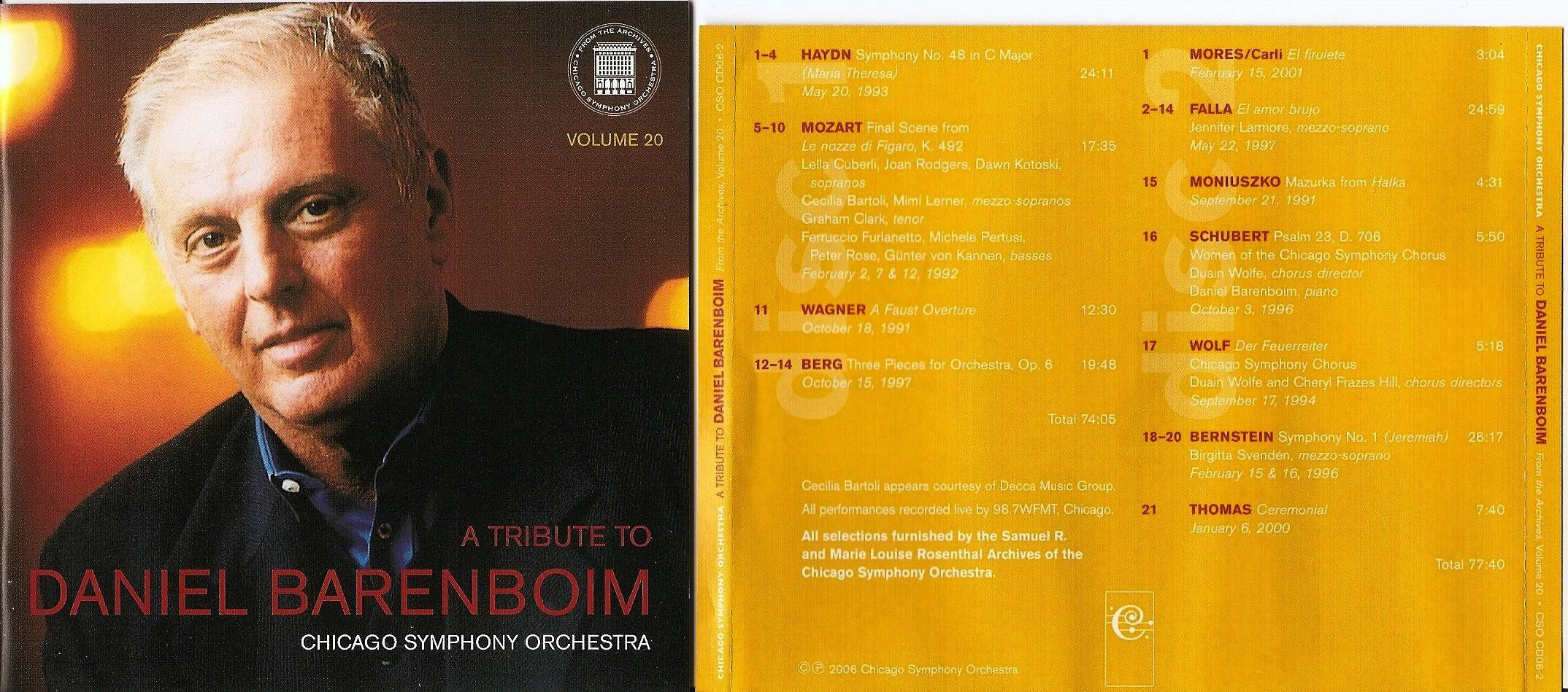 Chicago Symphony Orchestra - From the Archives, Vol.20: A Tribute To Daniel Barenboim, 2-CD set (2006)