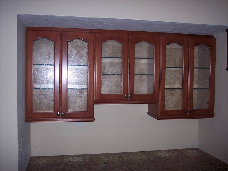 Wall cabinets with glass doors