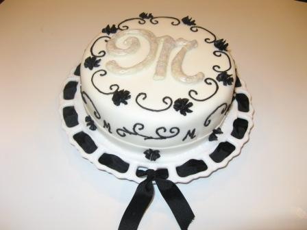 Black & White Monogram Cake