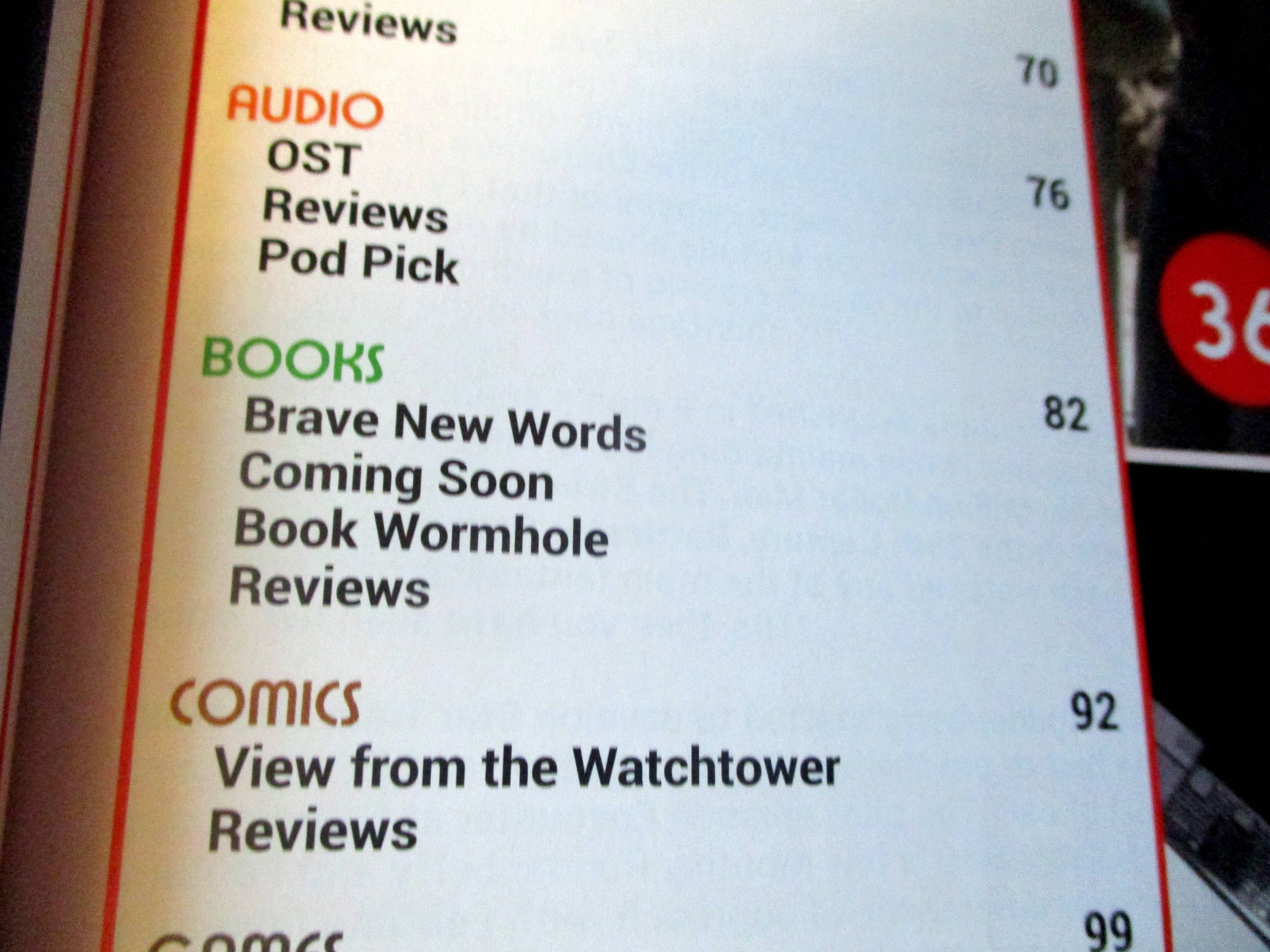 Subsection of Table of Contents with Regulars on Books in Starburst Magazine #468: 2020 Preview Issue Collectors? Edition