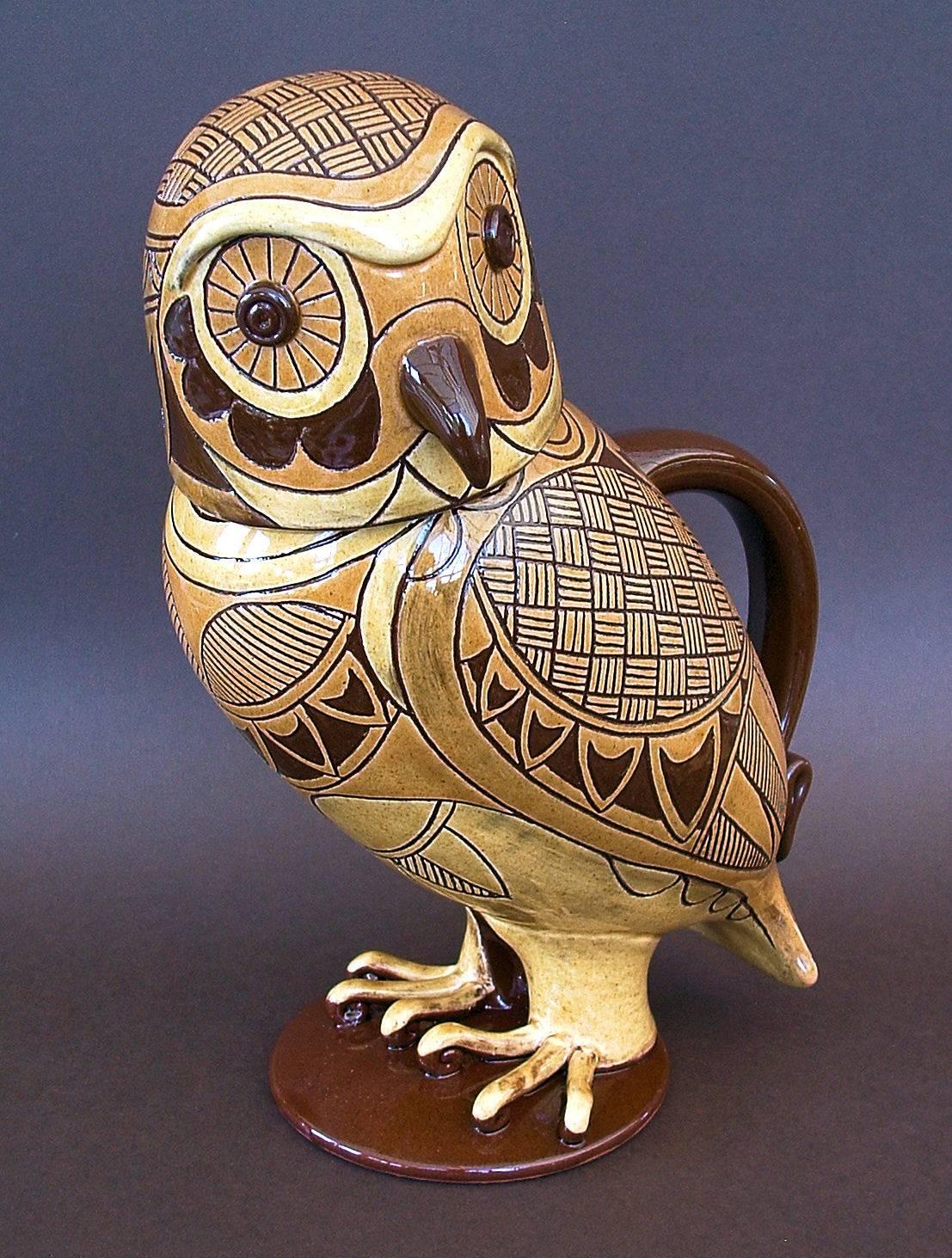 """3 tone yellow owl jug 11"""" tall"""