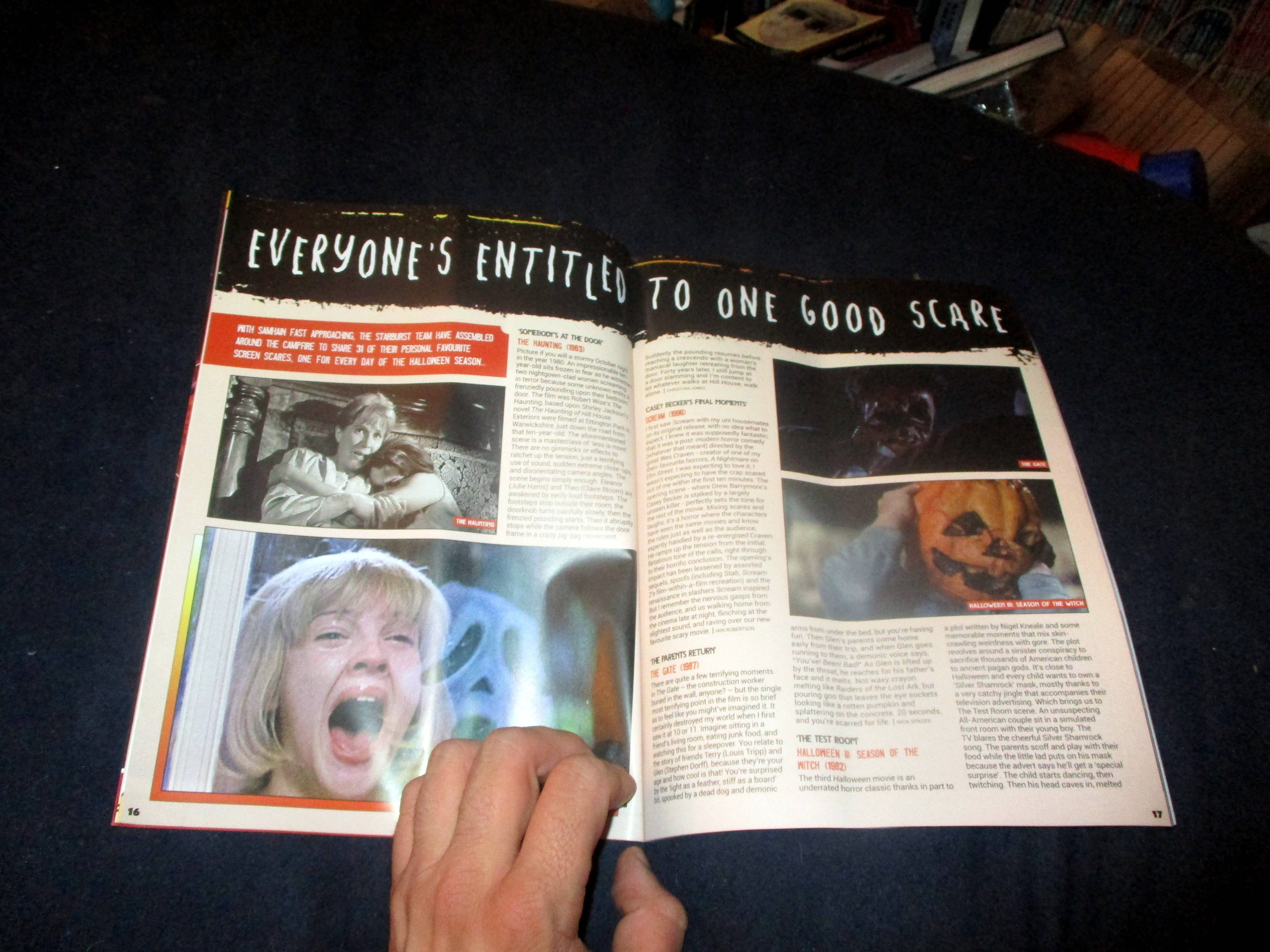 Opening Page Spread of Everyone's Entitled to One Good Scare in Starburst Magazine #474: Everyone's Entitled to One Good Scare Collectors' Edition at The Wombatorium 2.0: A Capital Idea