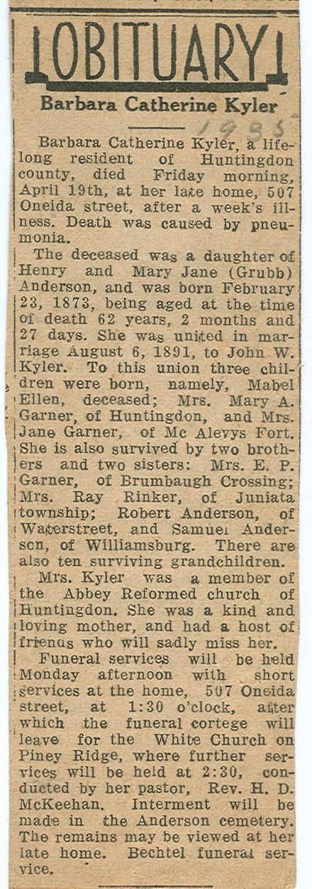 Kyler, Barbara Catherine Anderson 1935