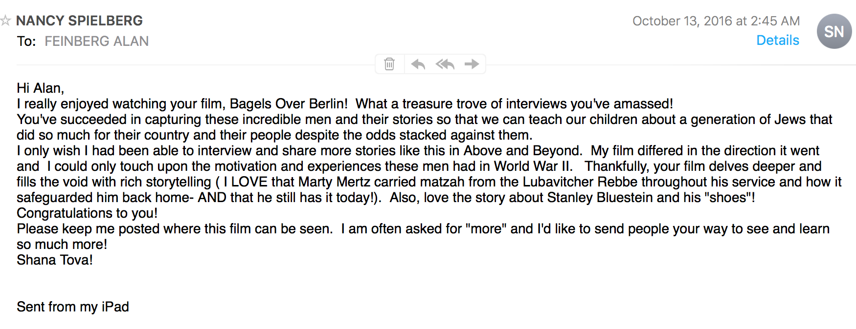 Email from Nancy Spielberg