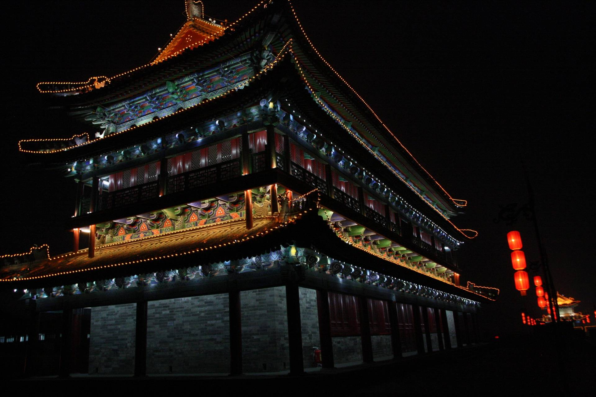 Part of City Wall in Xi'an at night