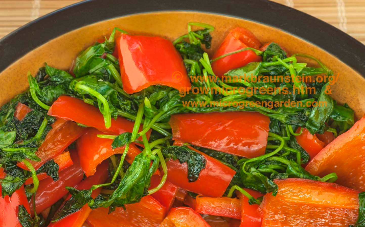 PEA shoots & red peppers - SAUTEED
