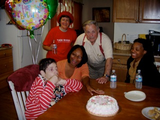 Aimee's birthday, with her sister-in-law, Lisa, and Uncle Marvin...