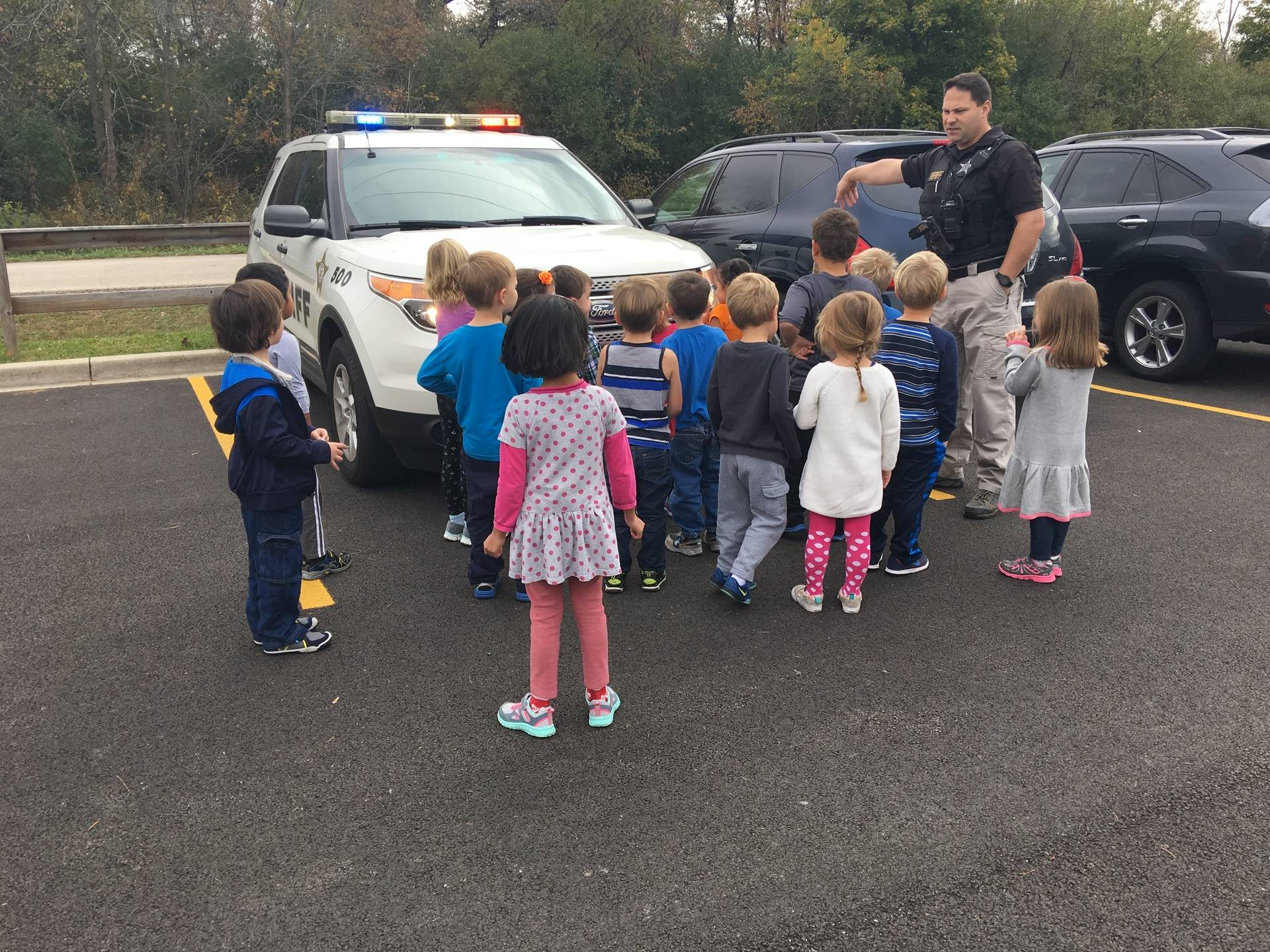 We had a great visit with Deputy Roman. We got to see all the cool things he wears and even got to hear his police sirens and see the flashing lights.