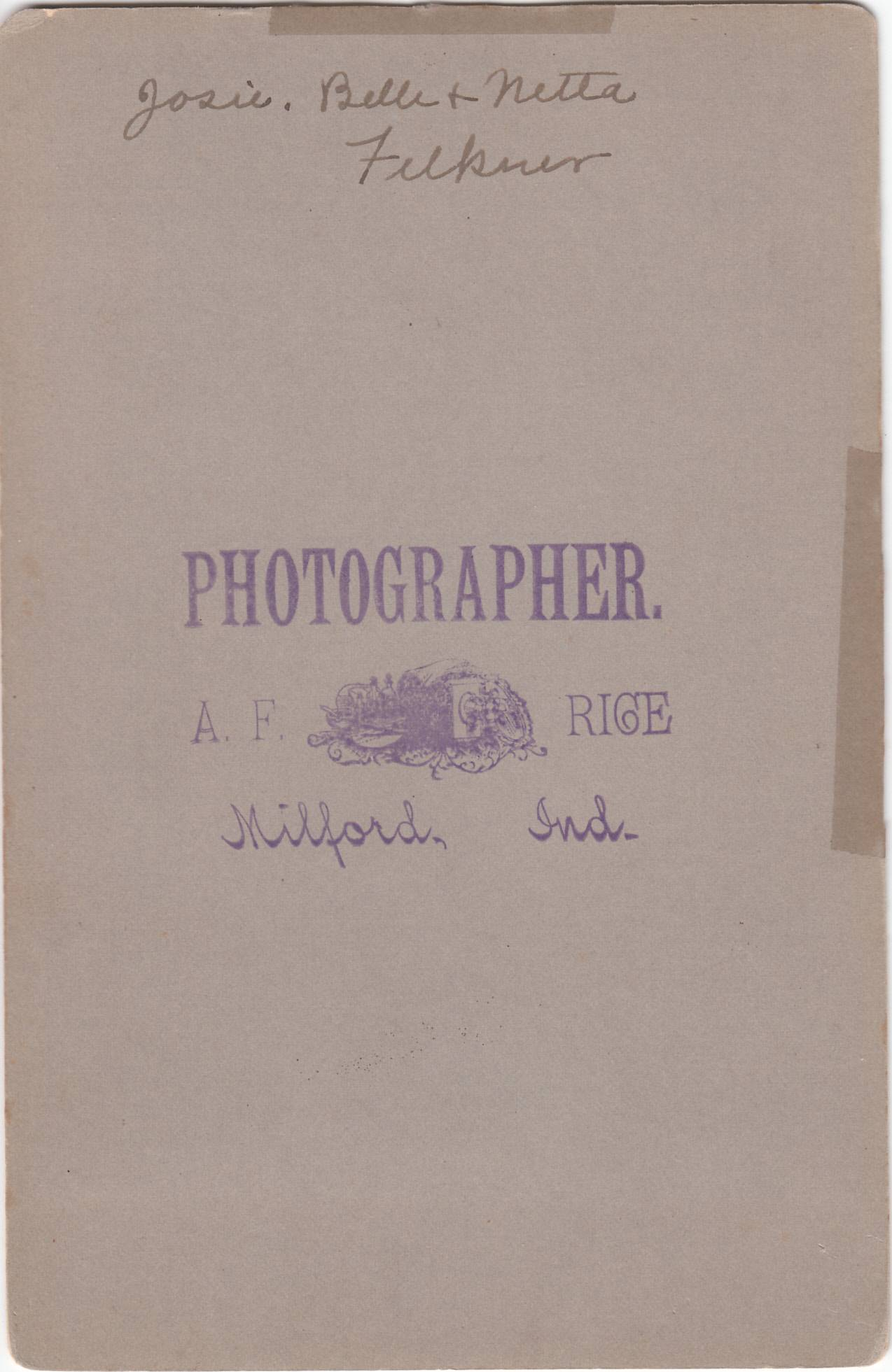 A. F. Rice, photographer of Milford, Indiana - back