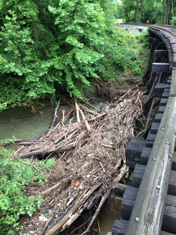 Debris at Fairfax bridge