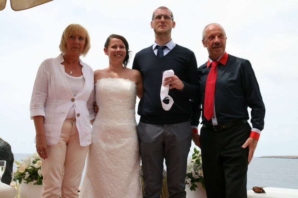 The couple with her parents