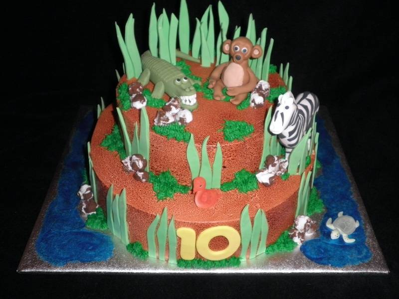 Jungle Themed w/ edible animals Birthday Cake
