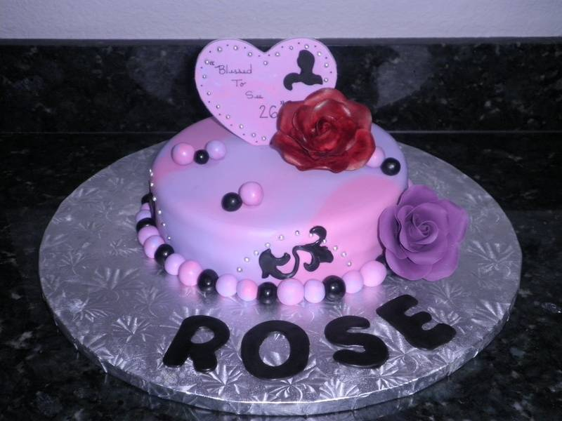 Purple & Black Rose Birthday Cake
