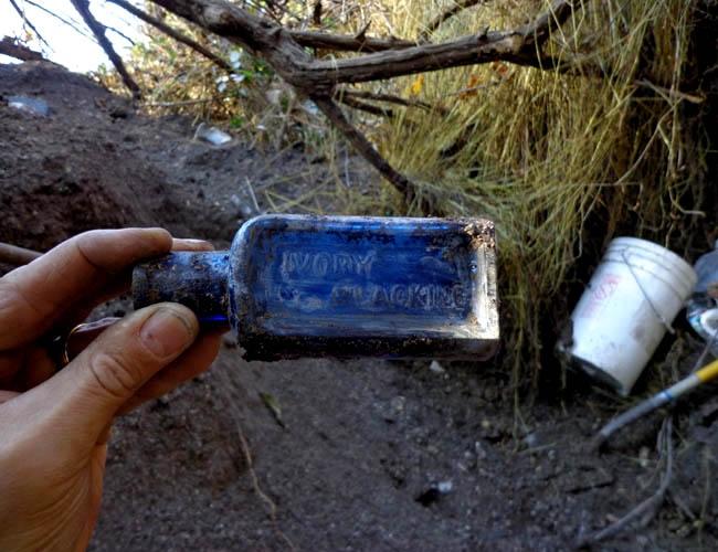 Cobalt Blue Ivory Blacking bottle