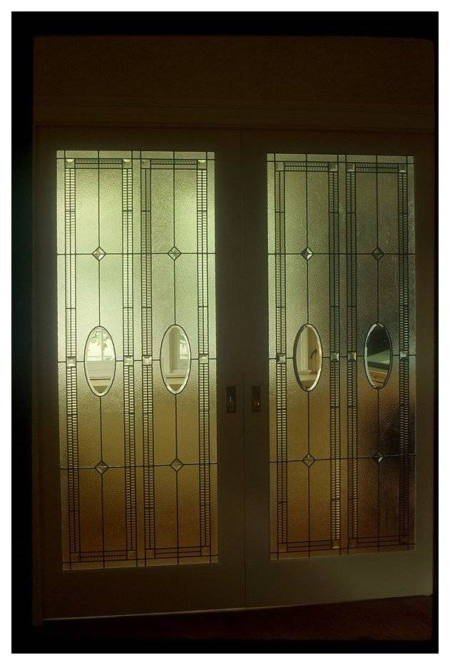 Pocket Door Panels Clear Textured and Bevelled Glass - Residence NW Washington DC