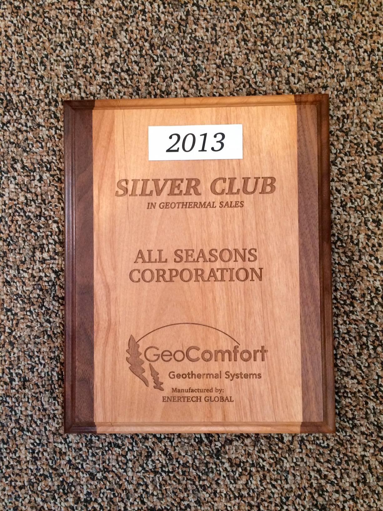 2013 Silver Geothermal Sales Award
