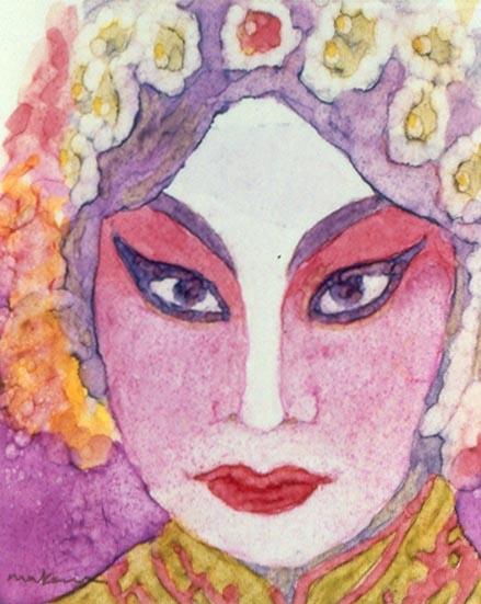 The Geisha, Oil Marker, 5x7, Original Sold