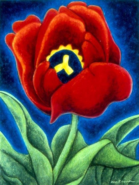 Tulip - Maid of Spring, Oil Pastel, 11x14, Original Sold